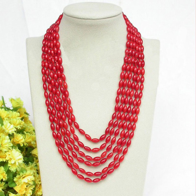 6 rows 4X8mm 17-22 inches Rice Red Natural Coral Beads Necklace with Magnet Clasp