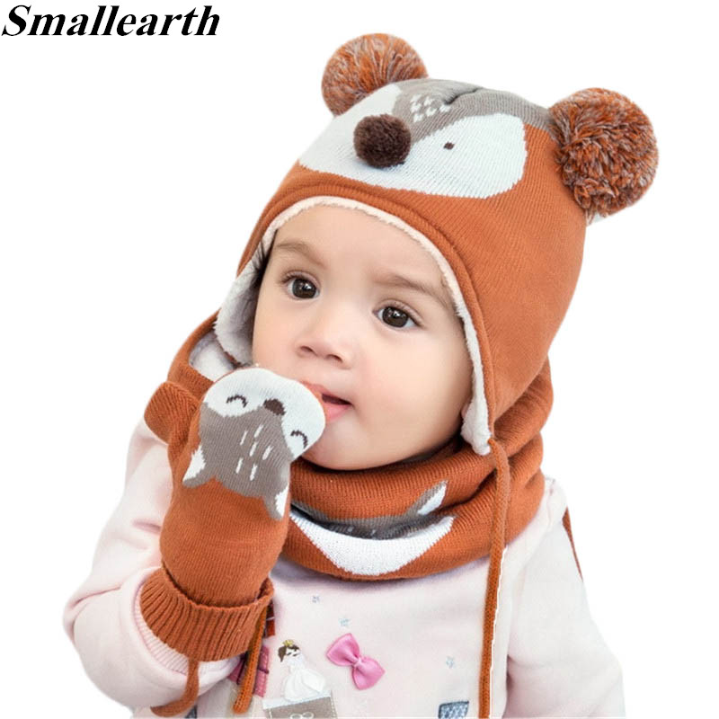 3pcs/Set Baby Kids Winter Cotton Hat Scarf Set Winter Knit Cap Children Warm Scarf For Boys Suit Beanies Hats Scarf For Girl Boy