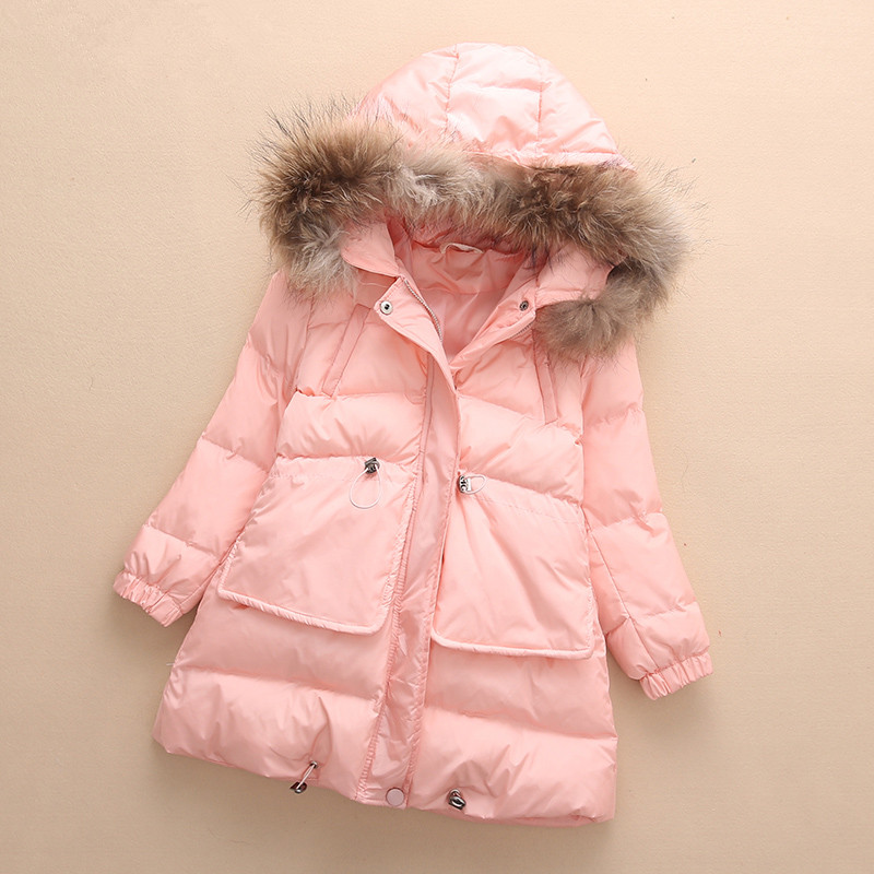 2019 New Year Girls Winter Coat Children Clothing Fashion Fur Collar Hooded Thick Warm Winter Jacket Kids Clothes,5 Colors,3-15Y