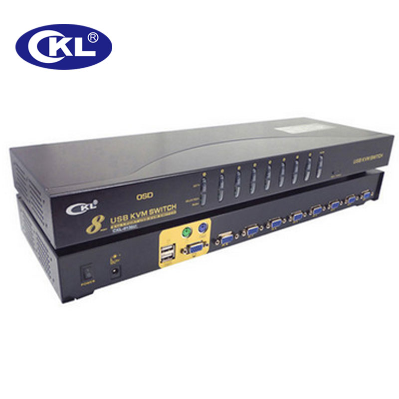8 Port USB VGA KVM Switch With Cables, 8 In 1 Out PC Monitor Keyboard Mouse Switcher Rack Mount CKL-9138U