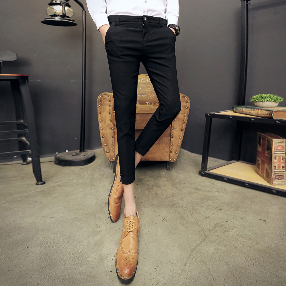 2018 spring and summer new mens casual pants Korean trend of small feet Slim pants elastic young business long pants