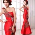 2017 New Arrival  Fashion Design One Shoulder Silk Material Red Satin Elegant Long Women Formal Evening Dress Mermaid Crystal