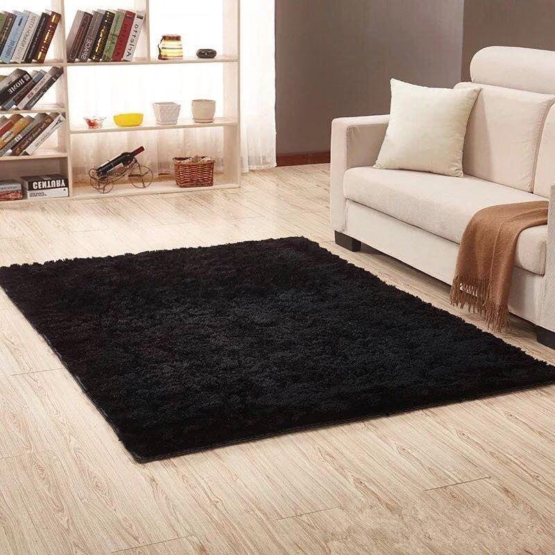 Black Plush Shaggy Carpets For Living Room Home Decor Bedroom