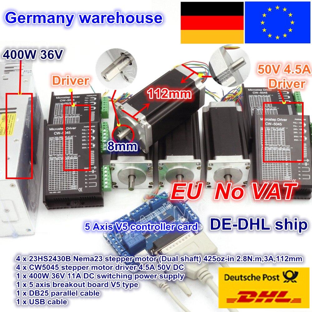 Бесплатная доставка в ЕС контроллер с ЧПУ 4 оси ЧПУ комплект NEMA23 425oz in двойной вал шаговый двигатель и 256 микростеп 4.5A драйвер