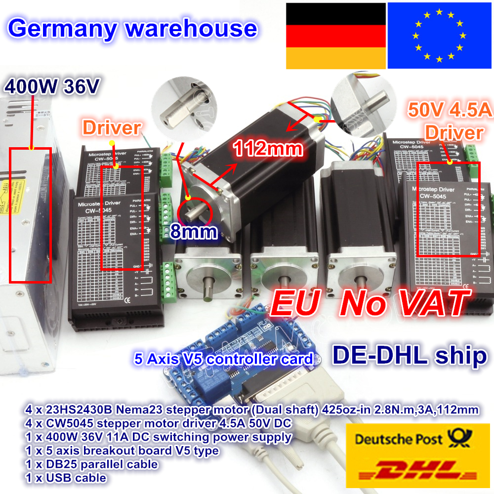 EU Ship Free VAT CNC Controller 4 Axis CNC Kit NEMA23 425oz-in Dual Shaft Stepper Motor & 256 Microstep 4.5A Driver