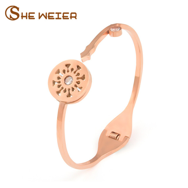 She Weier Half Open Key Statement Bracelets Bangles Bead Stainless Steel S Rose Gold Bracelet
