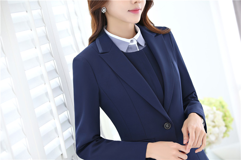 3 Veste Formelle Wear Dames Ensembles Noir Clothers D'affaires Gilet Work Femmes Pièce Jupe dark Blue Blazers Costumes Et 4Bdwqdt