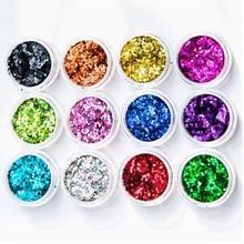 12box/set!!! Glitter Nail Art Powder 12Colors Purpurina Nails Glitters Spangle Ultra Fine Dust Set Sparkles DIY Kit