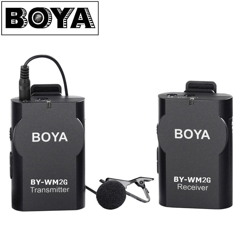 BOYA BY-WM2G беспроводной петличный микрофон системы для Canon Nikon sony Panasonic DSLR камера видеокамера iphone android смартфон