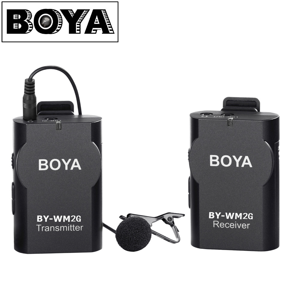 BOYA BY-WM2G Wireless Lavalier Microphone system for Canon Nikon Sony Panasonic DSLR Camera Camcorder iphone android smartphone