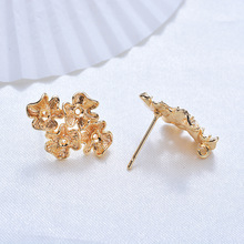 (175) 6PCS 14x20MM 24K Gold Color Brass Four Flower Stud Earrings High Quality Diy Jewelry Findings Accessories