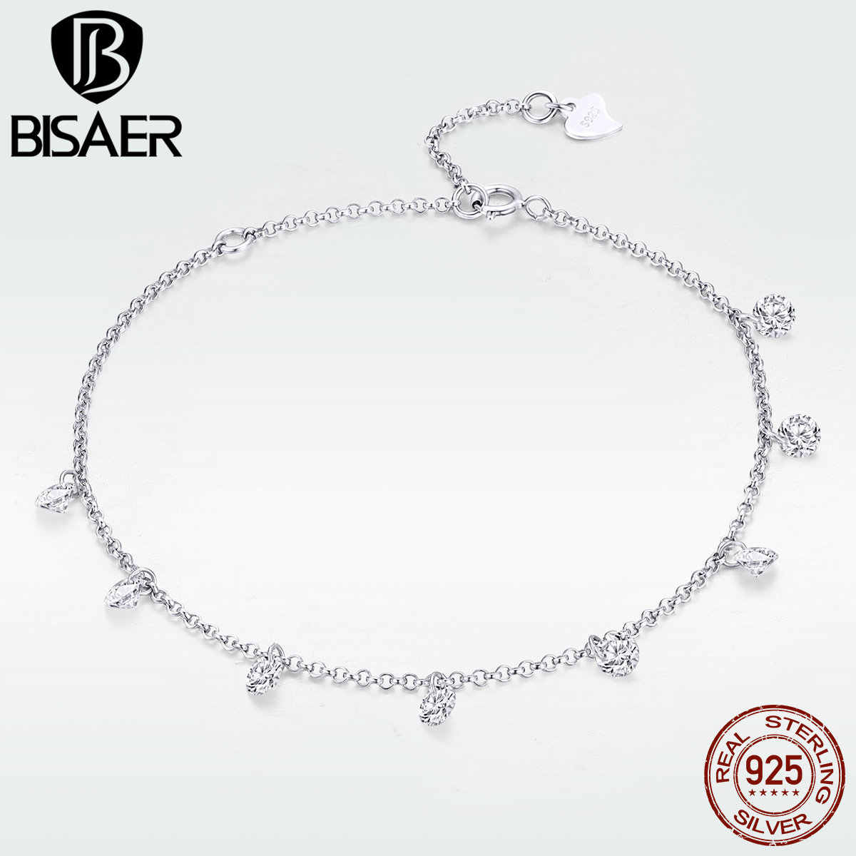 02032a3a54c BISAER Silver Bracelet 925 Sterling Silver Chic Simple Clear CZ Bracelet  for Women Fashion Jewelry Luxury