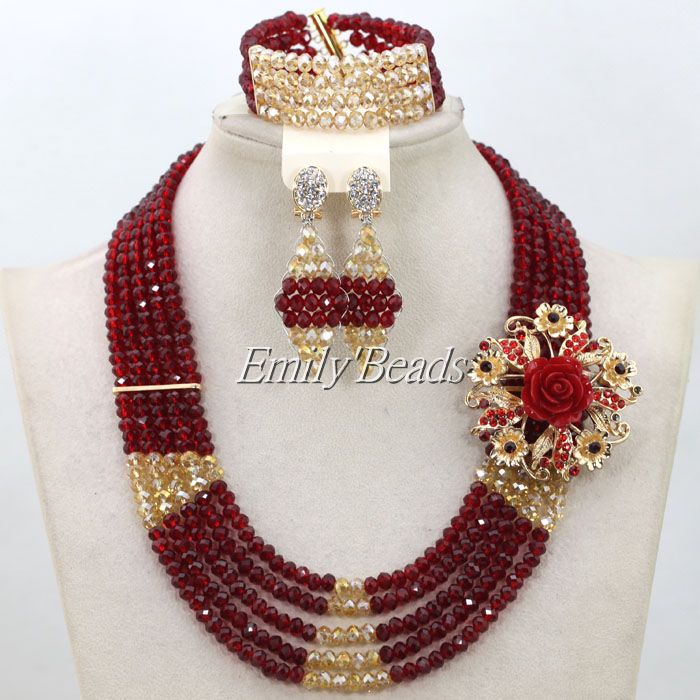 Fantastic Wine Burgundy Beads Indian Bridal Jewelry Set Gold