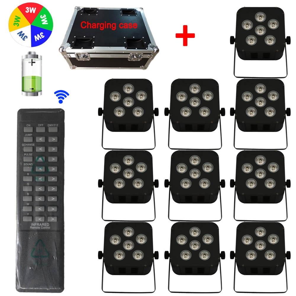 Charging Case + 10PCS RGBWA 5-IN-1 Remote Control Battery Operated DMX Wireless Wedding DJ Uplighting LED Flat Par Lighting