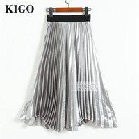 KIGO Fashion Women High Waist Silver Metallic Skirt Elegant Knee Length Midi Skirt Vintage Metallic Pleated Skirt KJ1445H