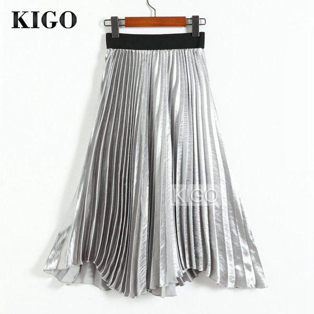 Moda Feminina Saia de Cintura Alta Metálico de Prata do KIGO Metálico Elegante Do Joelho-Comprimento Midi Saia Do Vintage Saia Plissada KJ1445H