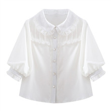 KEQI Vintage Puff latarnia rękaw bluzka kobiety Brand New moda skręcić w dół kołnierz topy damska koszulka z długim rękawem bawełna biała koszula h103 tanie tanio REGULAR Nylon Poliester Elastan COTTON Peter pan collar Połowa Ruffles Stałe Japan style Szyfonowa