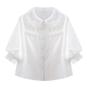 100% bawełna kobiety biała bluzka 2018 nowa wiosna lato z
