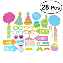 28pcs Happy Birthday Party Photo Booth Props Photobooth Props Bigode Óculos Balões Bolo e Chapéus DIY Kit(China)