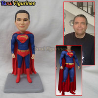 OOAK custom superman bobblehead figurines dolls unique birthday gifts sculpture toys personalized mini statue polymer clay doll