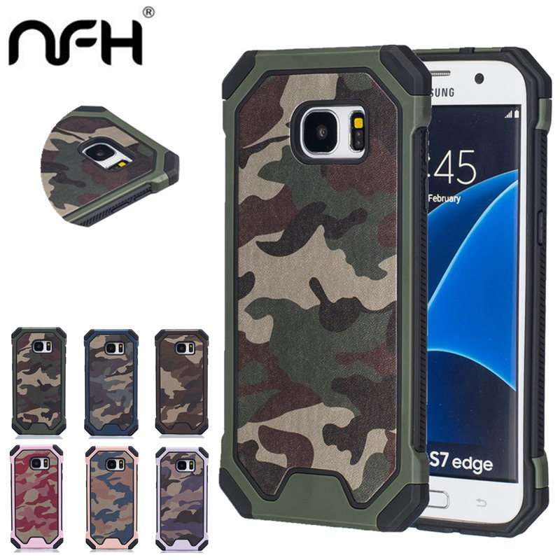 Hybrid Dual Layer Army Armour Camouflage Taske til Samsung Galaxy S8 S7 S6 S5 S4 S7 Edge Plus Shock Proof Defender Bagcover