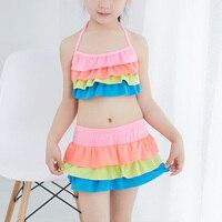 Hot Sale Girls Tankini Swimsuit Kids Summer Style Beachwear Bathing Suits Children Cute Two Piece Swimwear