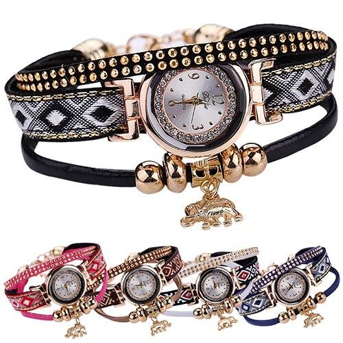 Women's Multilayer Vintage Knitted Elephant Pendant Rhinestone Bracelet Watch
