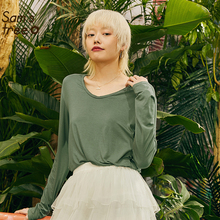 Samstree Army Green Solid Minimalist Style Shirts Women 2019 Autumn White Full Sleeve Pure Oversize Office Ladies Tops