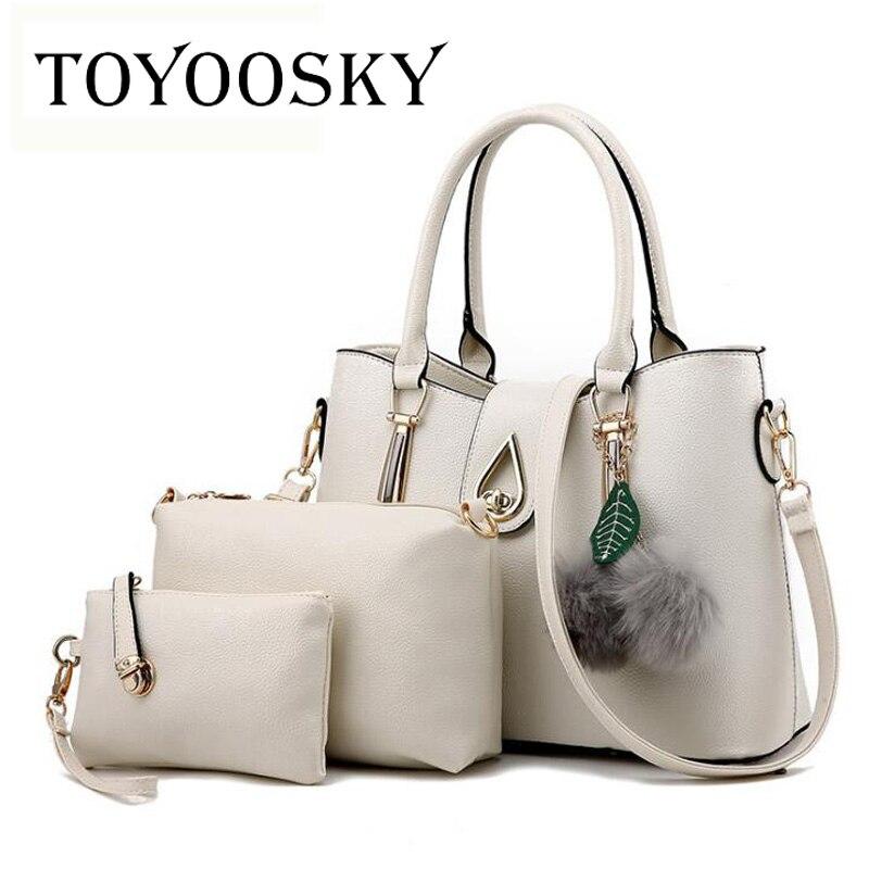 TOYOOSKY Brand New 3 Sets Composite Bag Luxury Handbags Women Embossing PU Leather Messenger Shoulder Bags Ladies Purses