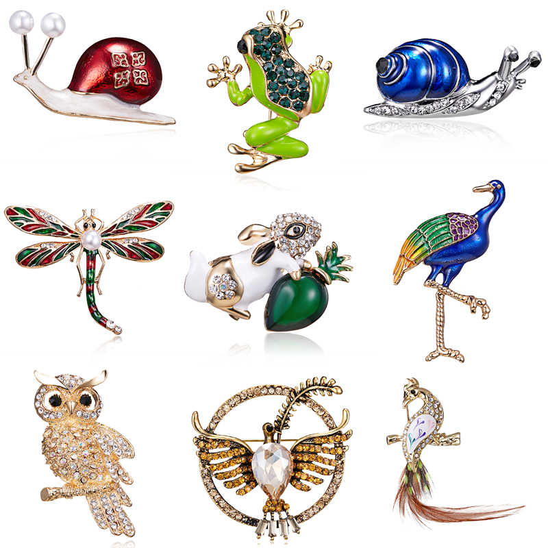 Fashion Enamel Frog Dragonfly Snails Brooches Jewelry for Men Cartoon Animal Brooch Pins For Kids Birthday Gifts Hats Jewelry