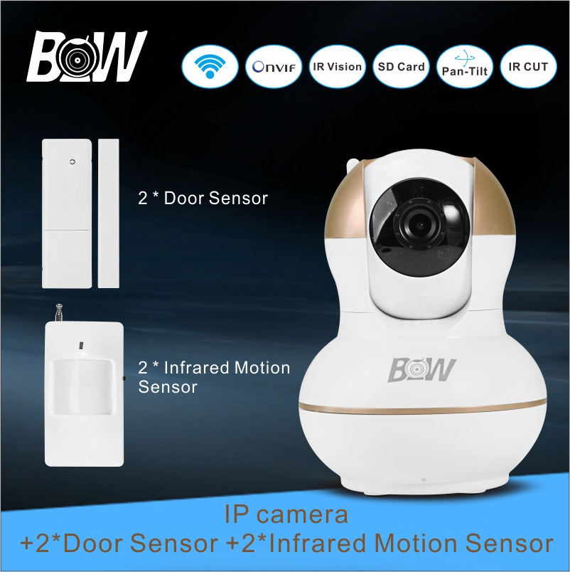 Camera IP Home Alarm System + 2 Door Sensor+ 2 Infrared Motion Sensor P2P Alarm Security Wifi Camera Remote Control BW12G