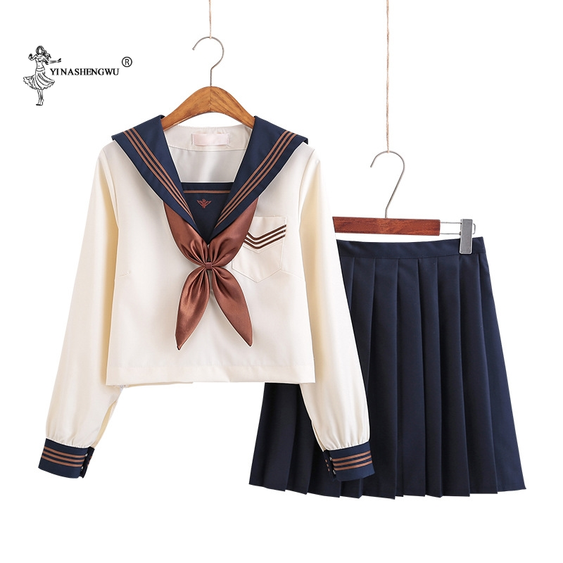 Japanese School Uniforms Anime COS Sailor Suit Jk Uniforms College Middle School Uniform For Girls Students Light Yellow Costume
