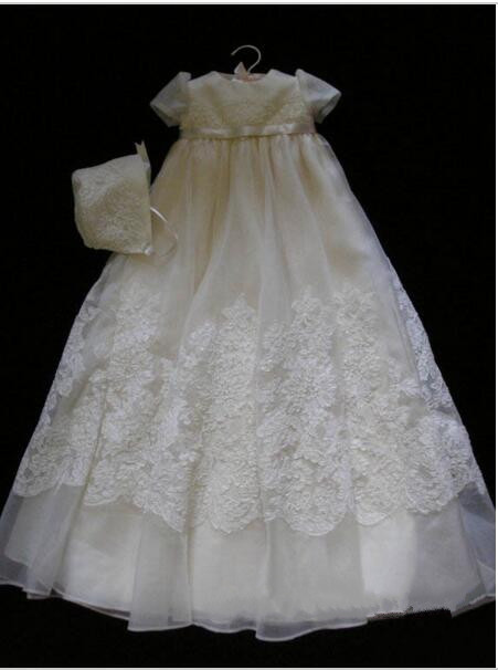 New White Ivory Baby Girls Baptism Gown Lace Applique Infant Toddler Christening Dress With Bonnet
