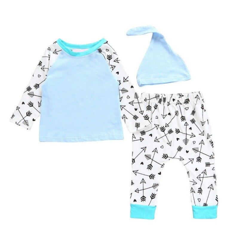 New 3pcs/set Baby Boys Printed Arrow Clothes Sets Long Sleeve T-Shirt+Pants+Hat Cotton Casual Infant Clothing Sets 0-24M