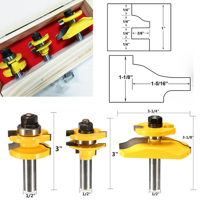 3pcs 1/2 Shank Ogee Cutter Router Bit Set Cabinet Router Bits Woodworking Tool high grade carbide alloy 1 2 shank 2 1 4 dia bottom cleaning router bit woodworking milling cutter for mdf wood 55mm mayitr
