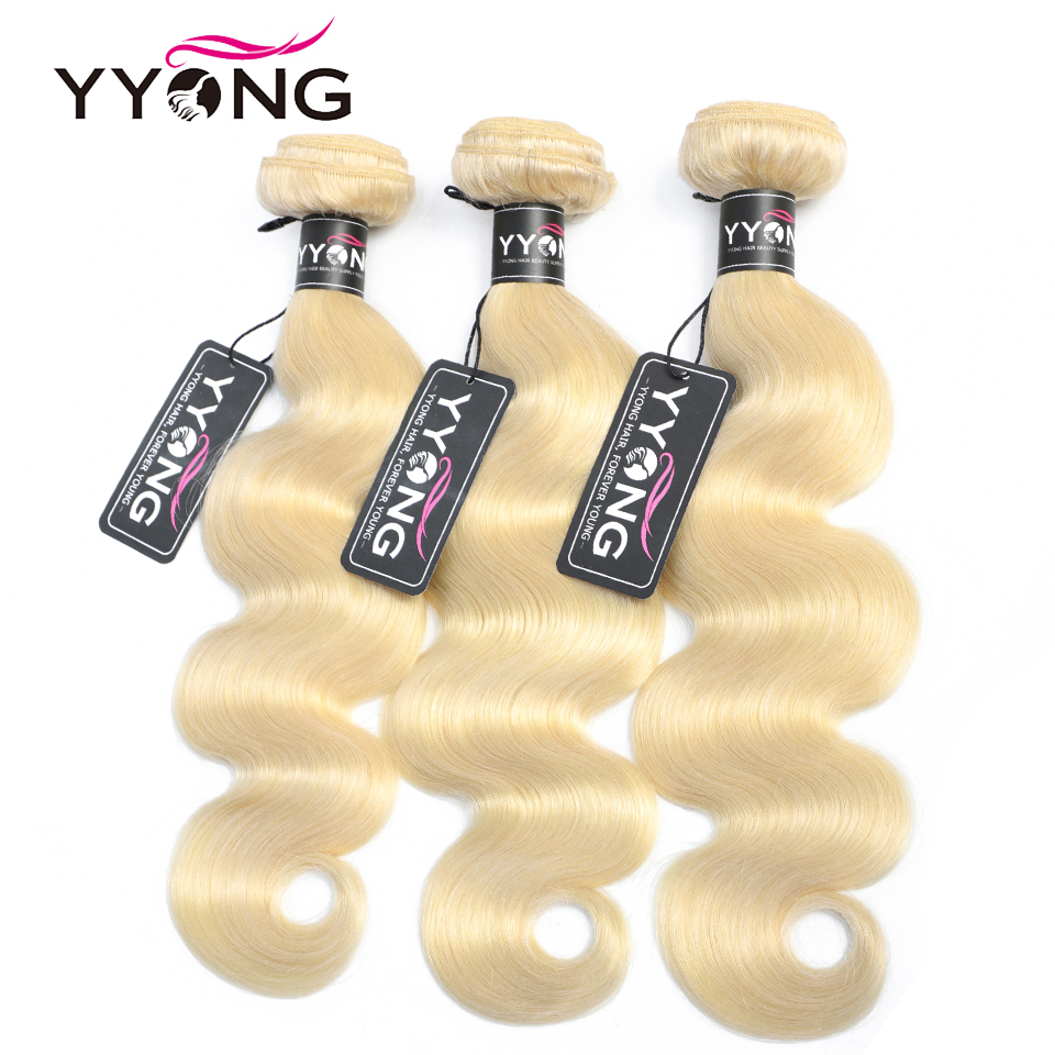Yyong Brazilian Body Wave 613 Honey Blonde Bundles 1/3/4 Bundles Remy Hair Weaving Brazilian Blond Human Hair Bundles 12-24 Inch