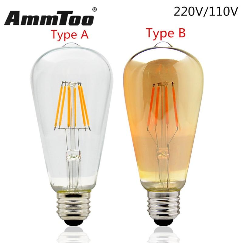 Edison LED Filament Bulb ST64 Vintage Led Lamp 4W 6W 8W 220V 120V 110V 2200K 2700K Replace Incandescent of 60W 80W 100W LightingEdison LED Filament Bulb ST64 Vintage Led Lamp 4W 6W 8W 220V 120V 110V 2200K 2700K Replace Incandescent of 60W 80W 100W Lighting