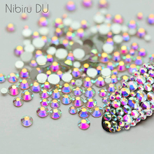 Super Glitter Crystal AB Rhinestones Flat Back Glass Chameleon Nail Rhinestones For Charms 3D Nails Art