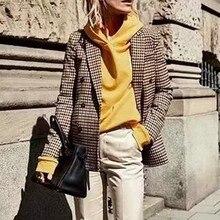 2019 Fashion Plaid Women Blazer Coat Retro Button Lattice Suit Jacket with Shoulder Pads Jacket Blazer Female Casual Coats