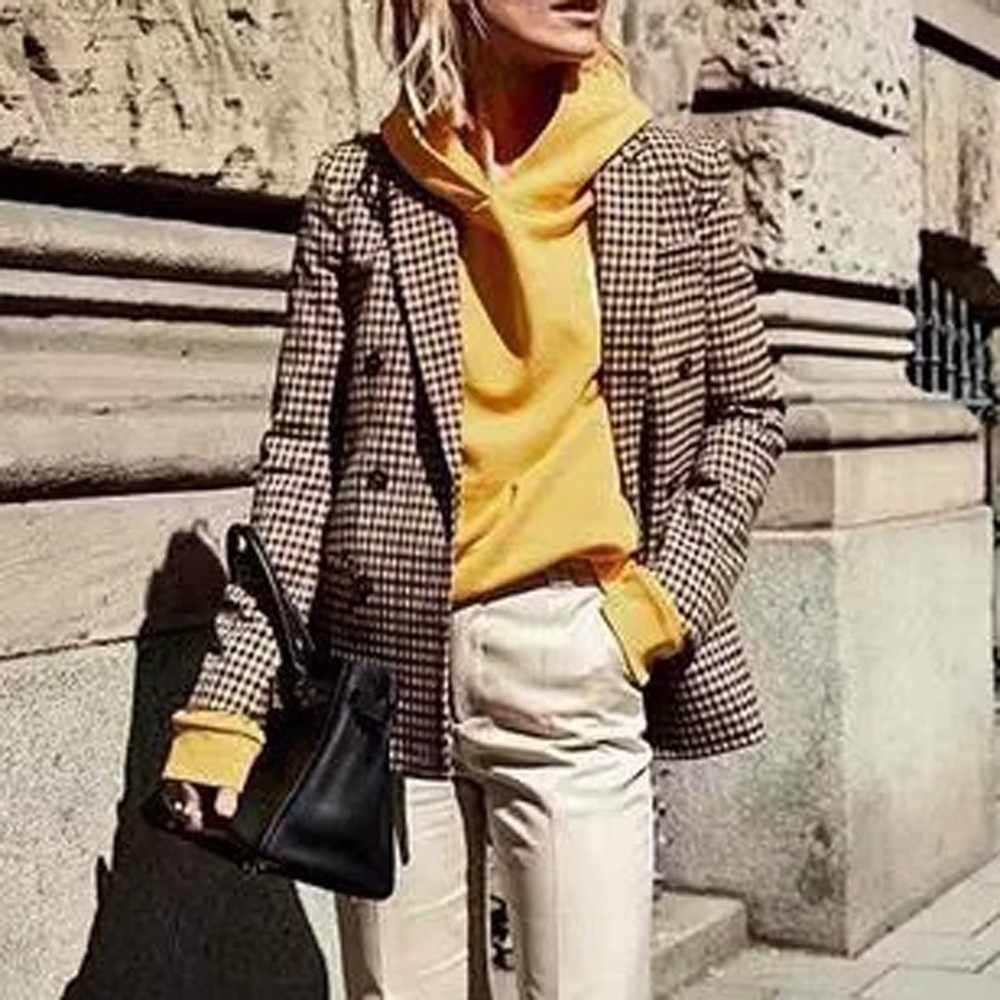 Xadrez blazer jaqueta feminina moda retro botões treliça terno jaqueta com almofadas de ombro jaqueta de escritório blazer senhora casacos casuais
