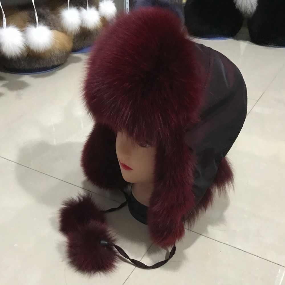 2019 Nuovo Inverno di Stile Genuino Reale della Pelliccia di Fox Delle Donne Del Cappello 100% Naturale Reale della Pelliccia di Fox Cap Casual Caldo Russia Reale pelliccia di volpe Bomber Caps