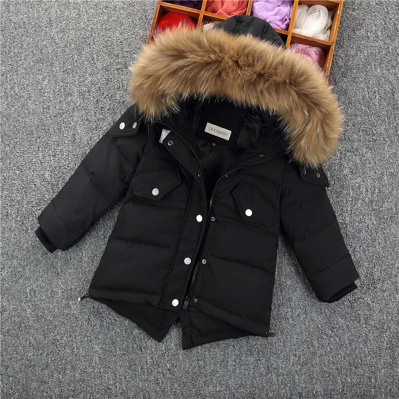 Baby Boys Winter Down Jacket Children Fur Collar Hooded Outerwear Thick Warm Feather Snowsuit Enfant boy Long Sleeves Clothes