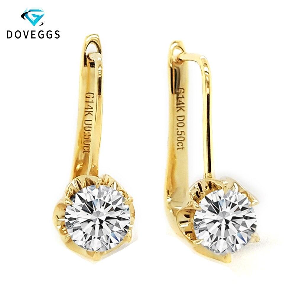 Takı ve Aksesuarları'ten Küpeler'de DovEggs 1ctw 5mm F G Renk Lab Grown Moissanite elmas halka küpe Kadınlar Için 14 K 585 Sarı Altın Çiçek Küpe güzel Takı'da  Grup 1