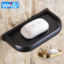 WEYUU Bathroom Soap Box Wall Mounted Brass Soap Dish Storage Rack Drain Toilet Soap Tray Black Bathroom Accessories