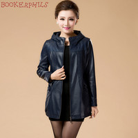 2017 New Spring Womens Hooded Leather Jackets Ladies Slim Elegant Faux Leather Coat Over Size 6XL