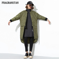2017 Winter Female keep Warm Asymmetric Padded Jacket New Fashion Hit Color Patchwork Street Style Lady High Quality Parkas Q241