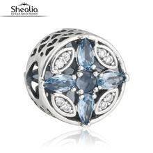 SHEALIA 925 Sterling Silver Blue Faceted Crystal & CZ Navidad Patrones de Frost Calado Del Corazón Encanta Los Granos Para La Joyería Que Hace