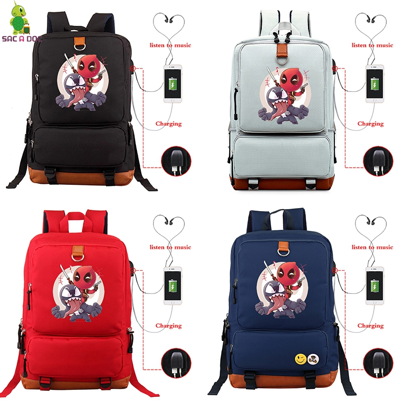 Superhero Deadpool  School Bags USB Charging Laptop Bagpack Cool Deadpool Backpacks Bag Boys Girls Travel Backpack sac a dosSuperhero Deadpool  School Bags USB Charging Laptop Bagpack Cool Deadpool Backpacks Bag Boys Girls Travel Backpack sac a dos