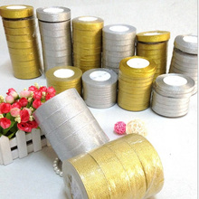 (25 yards/roll) 1/8 (10mm) Gold and Silver ribbon Christmas packaging high-grade quality squares ribbons wholesale
