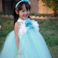 Aqua mint bloem meisje jurken aubergine bloem bruiloft prinses meisje partij tutu jurk party verjaardag jurken custom